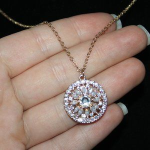Beautiful gold and rhinestone medallion necklace